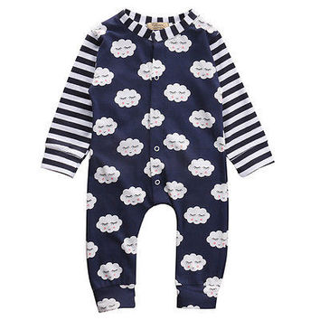 Newborn Infant Baby Boys Girls Long Sleeves Romper Jumpsuit Outfit Sunsuit Clothes 0-24M
