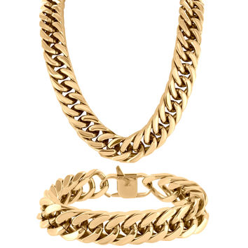 Miami Cuban Chain Free Bracelet Necklace Set 14k Rose Gold Finish Elegant Mens