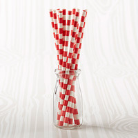 Red Striped Paper Straws (Set of 25)