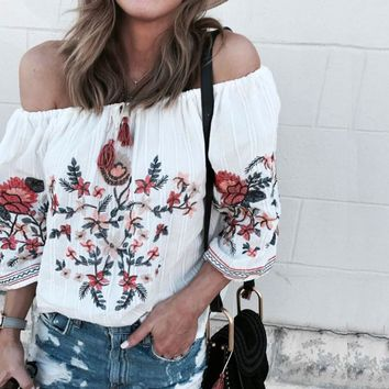 Boho Inspired Off Shoulder Embroidered Blouse