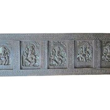 Carved Headboard Five Nritya Ganesha Vastu Decor Wall Panel