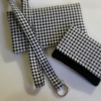 Lanyards for Women, Black and White Houndstooth Lanyard, Keychain, ID Lanyard, Key Lanyard, Ready To Ship
