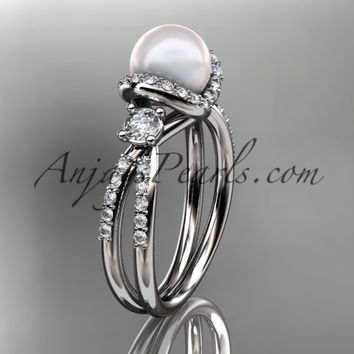 14kt white gold diamond pearl unique engagement ring, wedding ring AP146