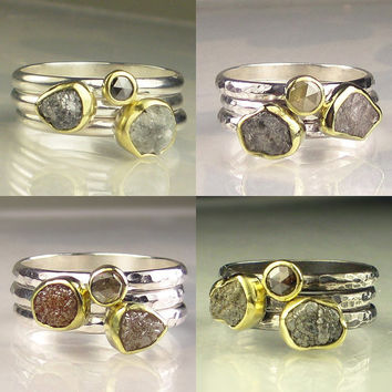 Rough Diamond Ring Stacking Set - Made to Order Trio