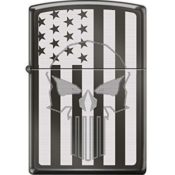 Zippo Custom Design Skull Flag Reg Blk Ice Windproof Collectible Lighter. Made in USA Limited Edition & Rare