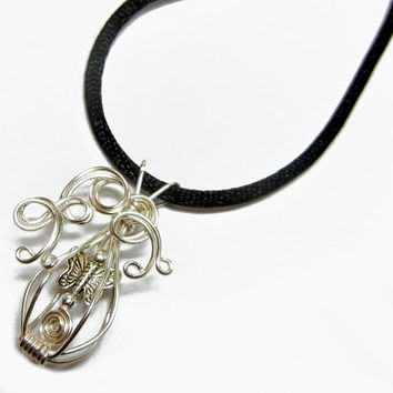 Fundraiser - Caged Butterfly Wire Wrap Pendant with Necklace