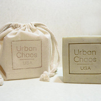 Soap Set of 2 - Grape Seed Oil, Organic Olive Oil, Organic Oatmeal & French Green Clay - Natural Handmade Palm Free Nut Free Unscented Soap