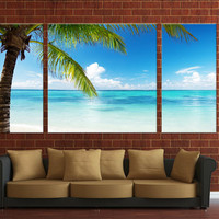 Palm tree, beach canvas print, 3 panels Framed canvas digital print, ready to hang on your wall