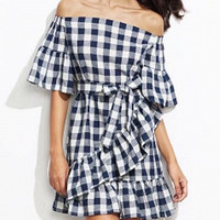 Blue Plaid Off Shoulder Self-Tie Ruffle Trim Mini Dress