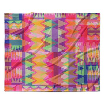 "Miranda Mol ""Triangle Fun"" Pink Multicolor Fleece Throw Blanket"