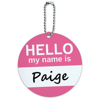 Paige Hello My Name Is Round ID Card Luggage Tag