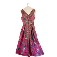 Vintage 60s Party Dress Women 1960s Dress 60s Mod Dress Floral Maxi Dress 60s Maxi Dress Floral Maxi Dress Long Maxi Dress Pink Maxi Dress