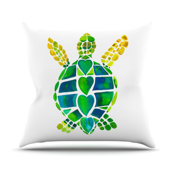 "Catherine Holcombe ""Turtle Love"" Green Teal Outdoor Throw Pillow"