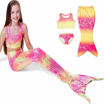 Swimming Costume Girls Kids Mermaid Tail 3pcs Spandex Beautiful Cute Fashion Swimming Accessories Swimwear Suit