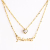 """Princess"" fashion alphabet zirconia heart gold plated double strand pendant necklace -NSS013-G"