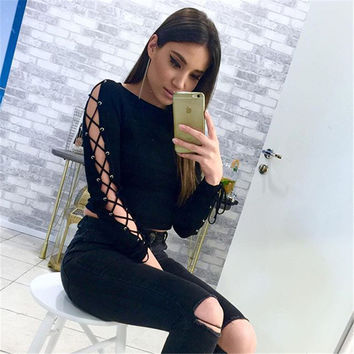 Hot sexy Round Neck Lace Long Sleeve Blouse [9819636365]