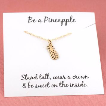 Pineapple Necklace - 14k Gold Fill - Simple Jewelry - Gift For Her