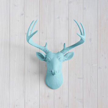 The MINI Virginia Pool Blue Faux Taxidermy Resin Deer Head Wall Mount | Pool Blue Stag w/ Colored Antlers