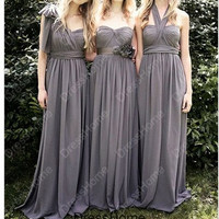 A-line Long Gray Bridesmaid Dress - Halter Long Chiffon Cheap Bridesmaid Dress / Long Grey Prom Dress / Floor-length Gray Bridesmaid Gown