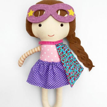 SUPER HERO cloth doll, ragdoll gift for kids, babyshower, christmas gift for girls, cloth dolls, girl toddler gift, nursery decor, polka dot