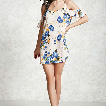 Open-Shoulder Floral Mini Dress