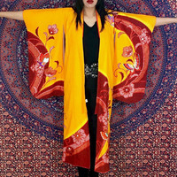 Vintage 60s Orange Yellow Traditional Japanese Flower and Butterfly Print with Gold Haori Long Drop Sleeves Kimono Robe Duster S // M