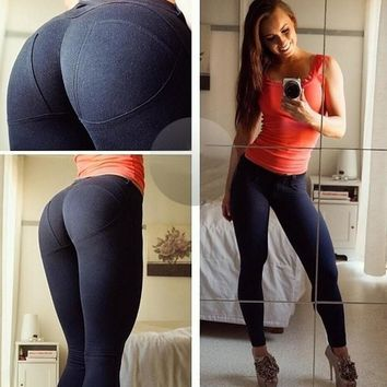 Hip Up Cotton Slim Stretch Sports High Waist Yoga Leggings [114899943450]