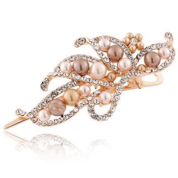 2017 Fashion Classical Luxury Golden Grey White Crystal Pearl Hairpin Baroque Court Pandora Style Duckbill Clip