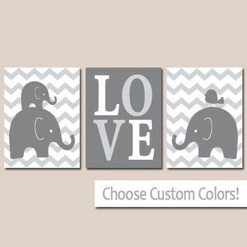 Boy ELEPHANT Nursery Wall Art, Canvas or Prints, Baby Boy Elephant Decor, Twin Bedroom Decor, GRAY Chevron Elephant Pictures Set of 3