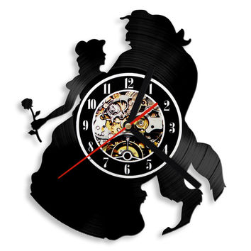 Large Beauty And The Beast Vintage Vinyl Record Wall Clock
