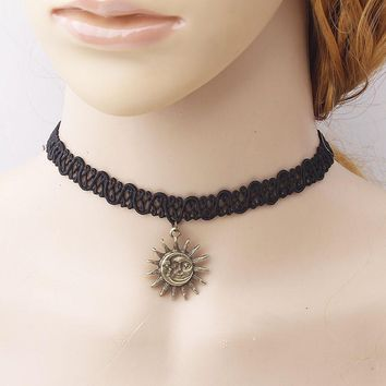 Choker Necklace Outfits  Fashion Lace  sun star drop pendant  11