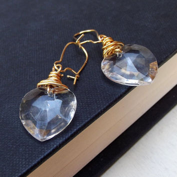 Heart Earrings:  24K Gold Plated Wire Wrapped Vintage Glass Valentine Wedding Jewelry, Pierced Dangle Bridesmaid Earrings Under 20