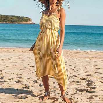 Robe Femme Women Dress Spaghetti Strap Ruffles Maxi Dress Beach Long Dresses Vestidos