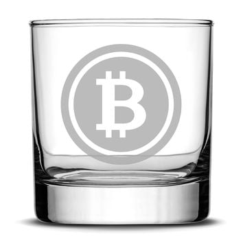 Premium Bitcoin Whiskey Glass, 10oz Deep Etched Rocks Glass, Made in USA