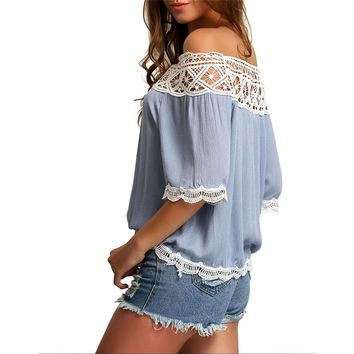 2018 Fashion Women Sexy Summer Off Shoulder Loose shirt White Tops Lace Shirt Blouse Tee High Quality