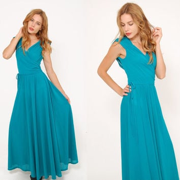 Vintage 70s Teal DRAPED Maxi Dress Belted Floor Length Dress Retro GLAM Dress Criss Cross Gown