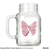Head and Neck Cancer Inspirational Butterfly Mason Jar