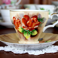 Japanese Vintage Teacup, Tea Cup and Saucer, Gorgeous Large Roses, Hand Painted 12251