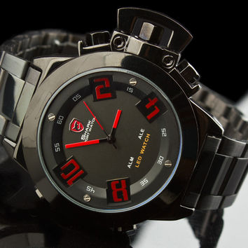 "Mens Exotic Shark Military LED Watch ""Mission"""