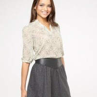 leather detailed wool skirt