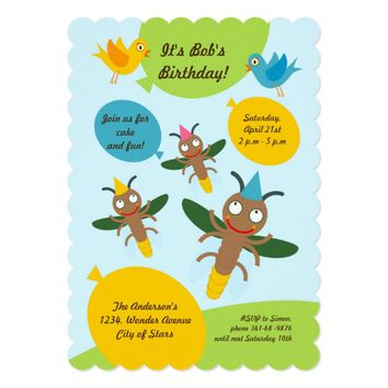 Firefly and ballons boy birthday party invitation