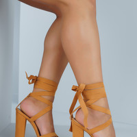 Sage Lace Up Block Heel - Tan