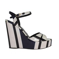 Dolce & Gabbana Black White Striped Leather Wedges Sandals
