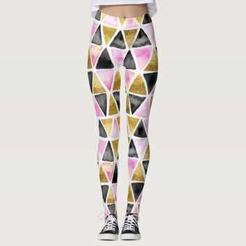 Chic Pink, Black, Gold Watercolor Triangle Leggings