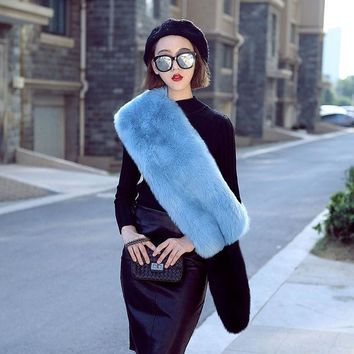ICIKJG2 New Autumn Winter faux fox fur scarf long party pashmina women luxurious soft smooth long wide scarf soft faux fur muffler