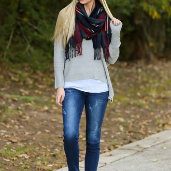 Falling Into Place Grey Sweater
