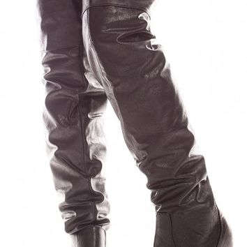 BLACK FAUX LEATHER MATERIAL FOLDABLE TOP OVER THE KNEE BOOTS