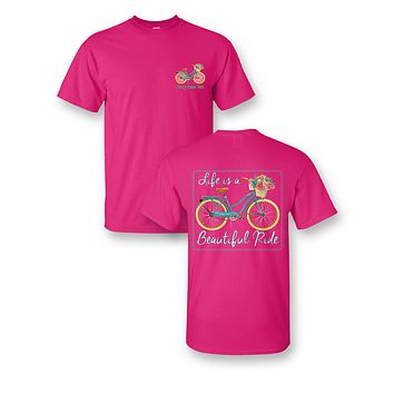 Sassy Frass Life is a Beautiful Ride Bicycle Bike Comfort Colors Bright Girlie T Shirt