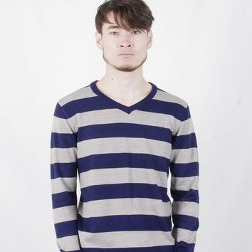 Spring Autumn Men's Striped Stripes V-Neck Jersey Knitted Sweaters Fashion Casual Male Pullovers Clothing Coat Dress