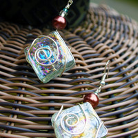 Irridescent Wire Wrapped Square Glass Earrings